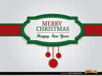 Feliz navidad, riband, tarjeta