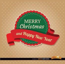 Feliz natal, redondo, etiqueta, fita