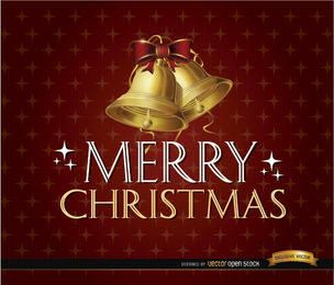 Feliz Navidad brilla fondo campanas