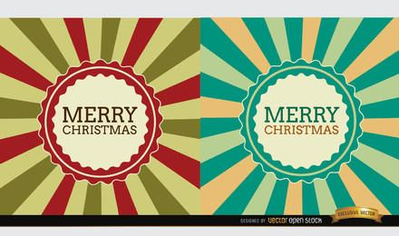2 Christmas radial stripes label background