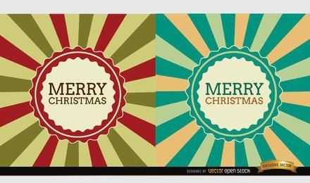 Fondo de etiqueta de 2 rayas radiales de Navidad