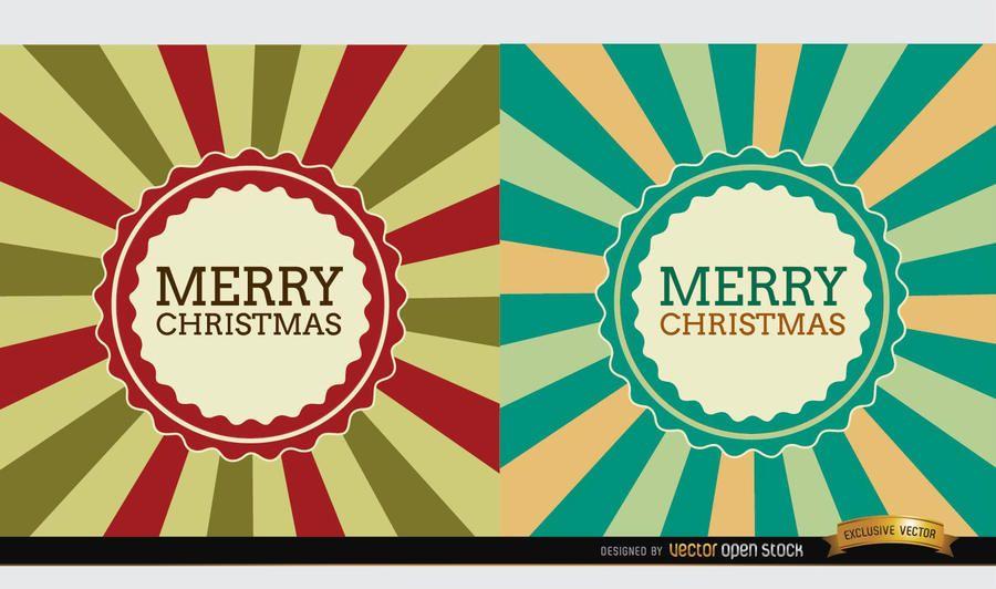 2 Christmas radial stripes label background