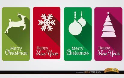 4 cartões verticais de natal