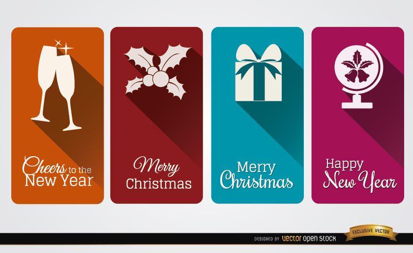 4 tarjetas verticales de celebración navideña