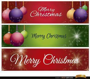 3 bolas de navidad brillan banners