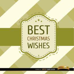Deseos navideños rayas tarjeta riband