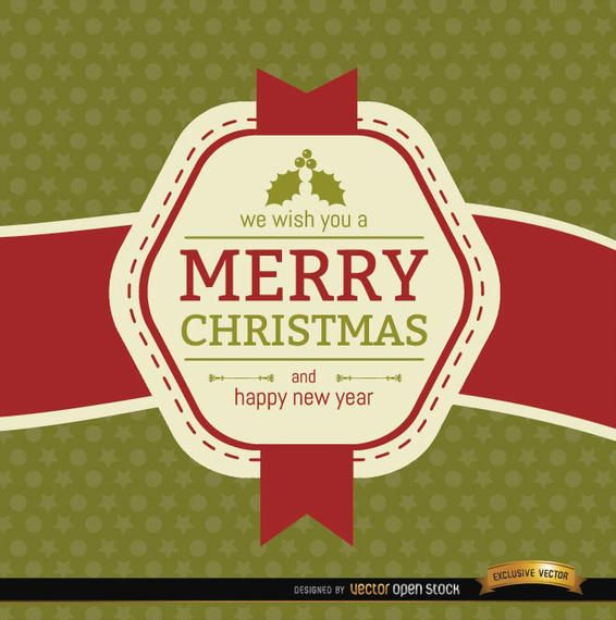 Christmas ribbon label wishes