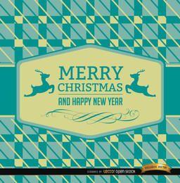 Cartão de Natal da rena fundo abstrato