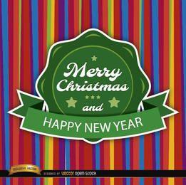 Etiqueta redonda de cartão colorido de Natal