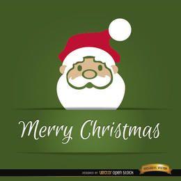 Tarjeta de Navidad de cabeza de Papá Noel