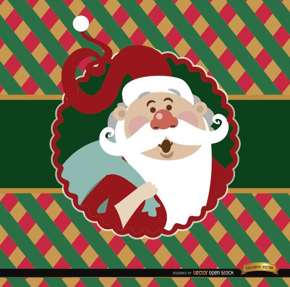 Santa Claus colorful card label