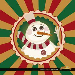 Muñeco de nieve de Navidad redondo fondo de etiqueta