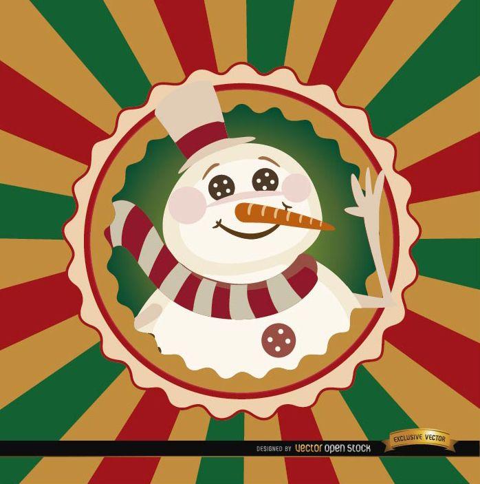 Fondo de etiqueta redonda de muñeco de nieve de Navidad