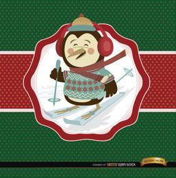 Fondo de etiqueta de esquí pingüino de Navidad