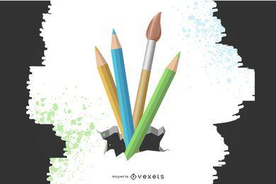 Lápices y pincel que salen del suelo