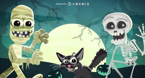 Cartaz de Halloween funky com esqueleto, múmia e gatos