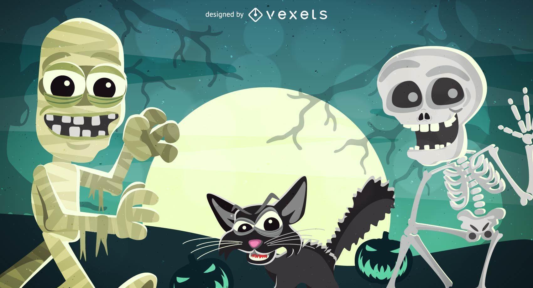 Funky Halloween Poster mit Skelett Mumie & Katzen