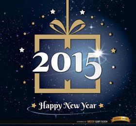 Fundo de estrelas de presente de ano novo de 2015