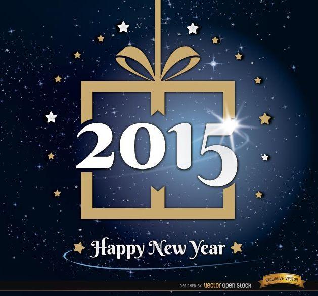 Fondo de estrellas de regalo de año nuevo 2015