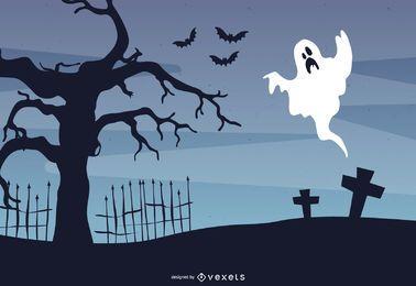 Gejagter Baum im Friedhof Halloween-Flyer