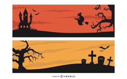 Pacote de Banner de cabeçalho de Halloween assustador