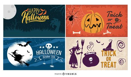 Halloween Poster Background Set