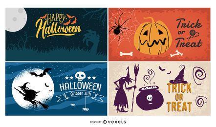 Halloween Poster Hintergrund Set