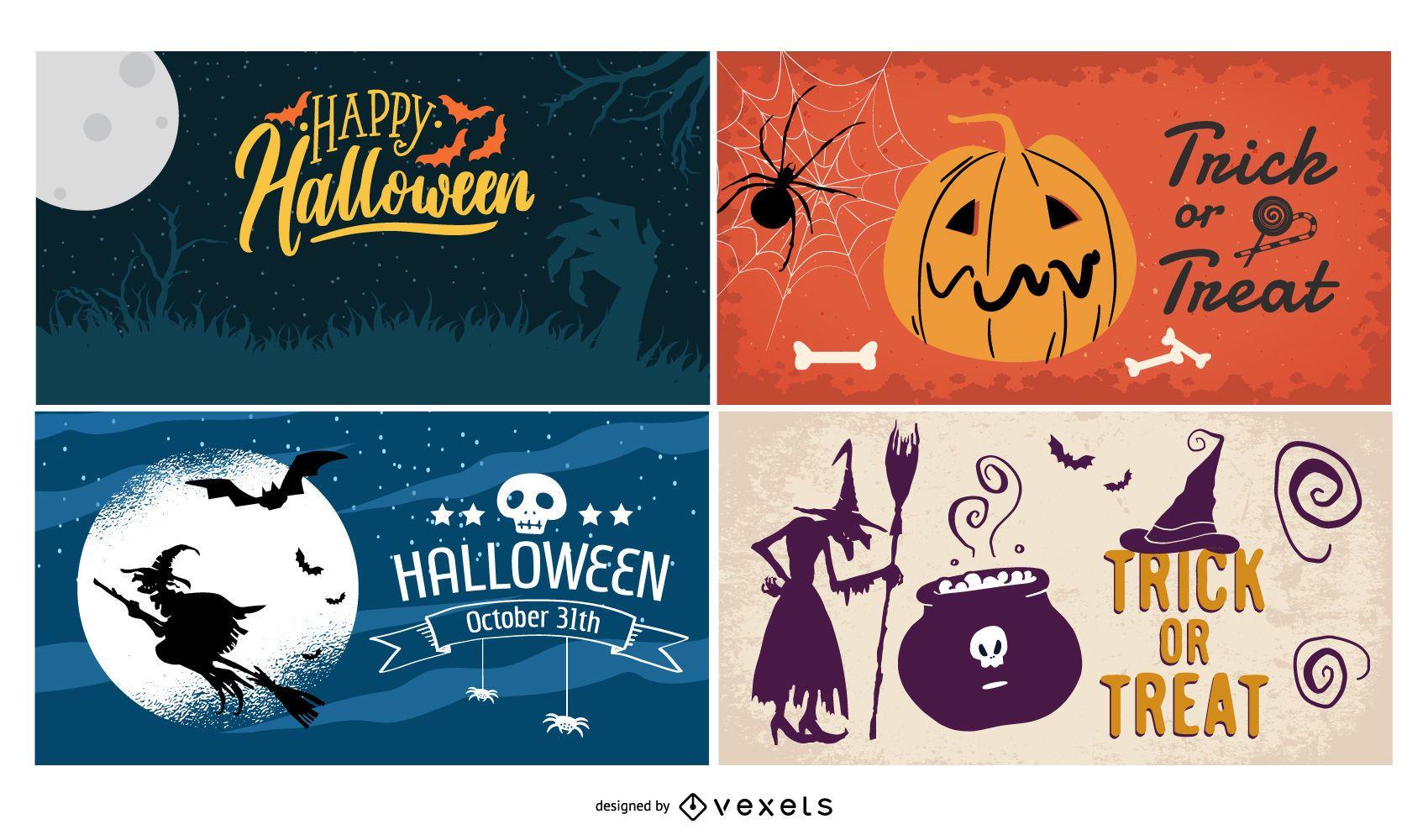 Halloween Poster Background Set