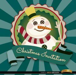 Invitación label muñeco de nieve de Navidad