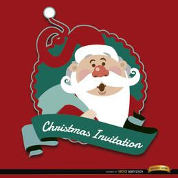 Christmas red Santa invitation label