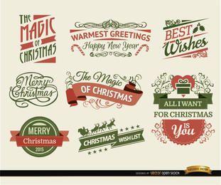 8 fitas e rótulos de Natal
