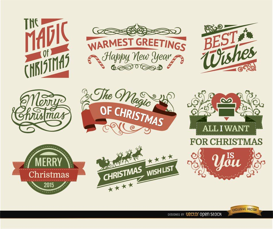 8 Christmas Ribbons and labels