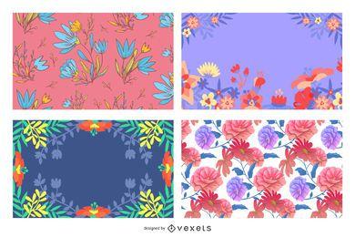 Paquete de fondo floral colorido creativo