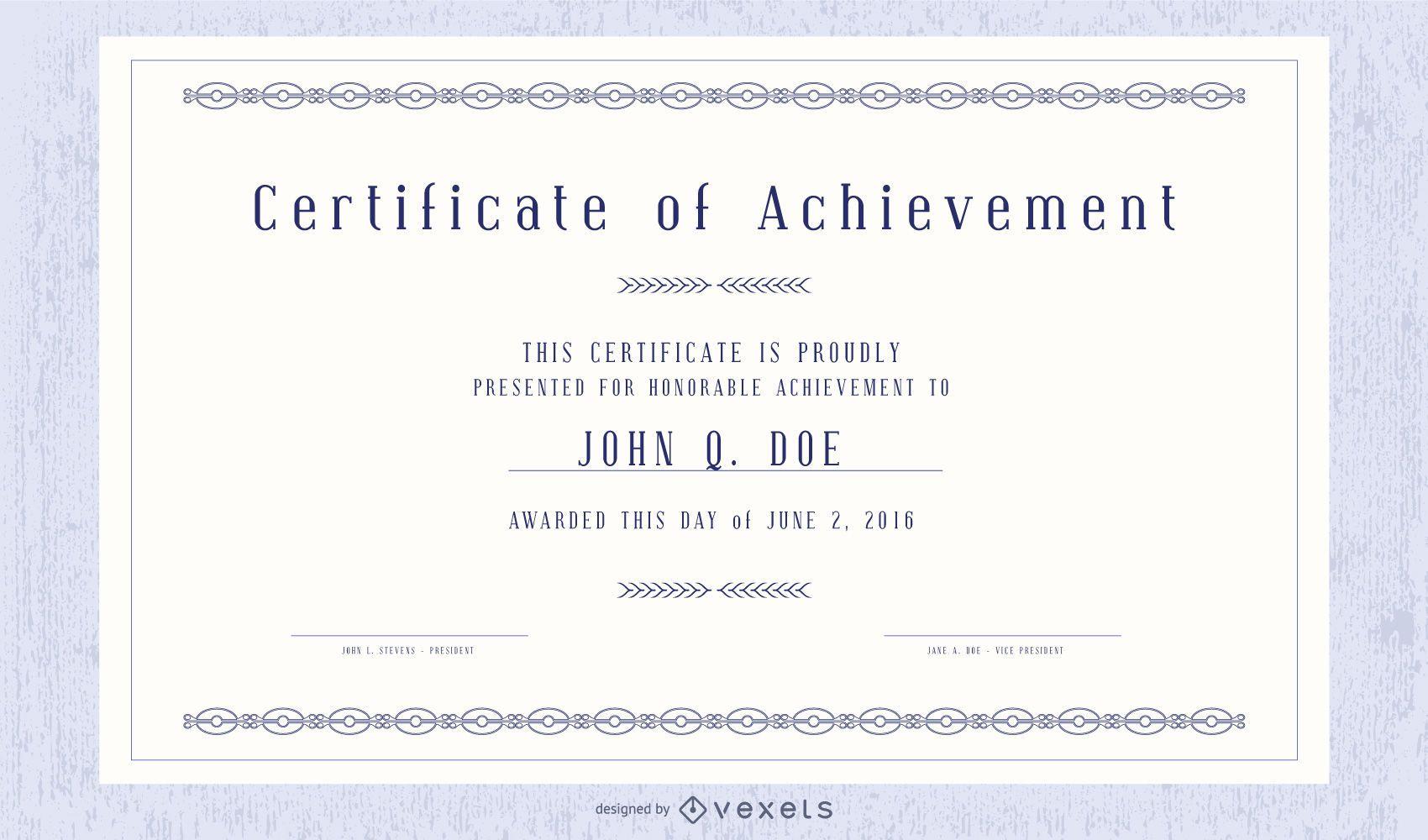 Certificado decorativo e pacote de modelo de credencial