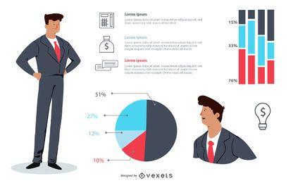 Como funciona, pacote corporativo de desenhos animados infográfico