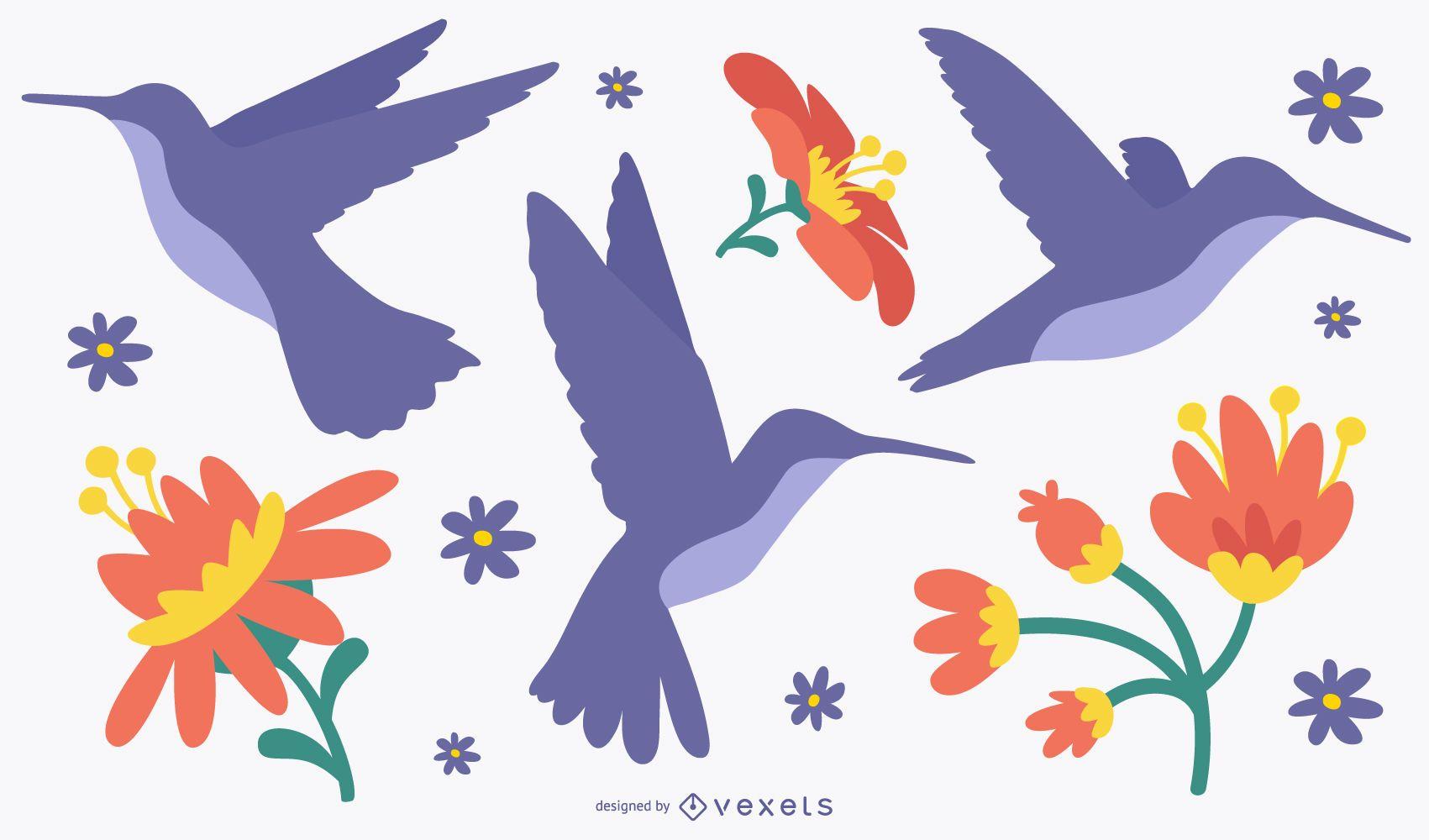 Diseño plano de pájaros y flores.