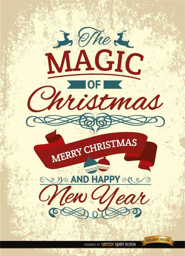 Cartel Del Grunge Del Vintage De Navidad Descargar Vector - Vintage-navidad