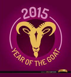 2015 ano de emblema redondo de cabra