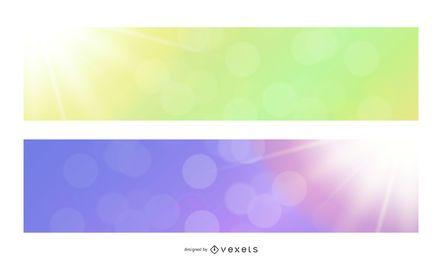 Fondos de banner de resplandor de sol multicolor