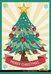 Rayas radiales de árbol de Navidad feliz