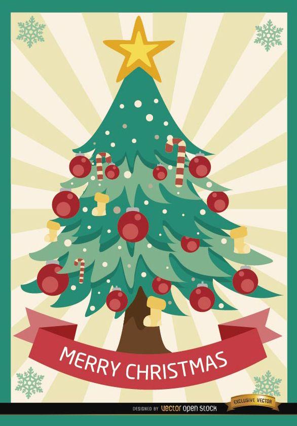 Merry Christmas tree radial stripes