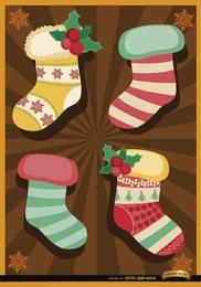 Fundo de listras radiais de meias de Natal