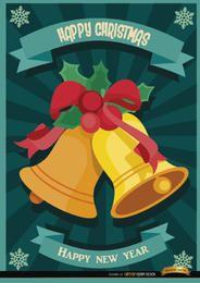 Papel pintado rayas radiales campanas navideñas