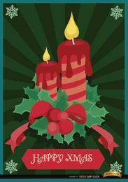 Fondo de muérdago de velas de navidad
