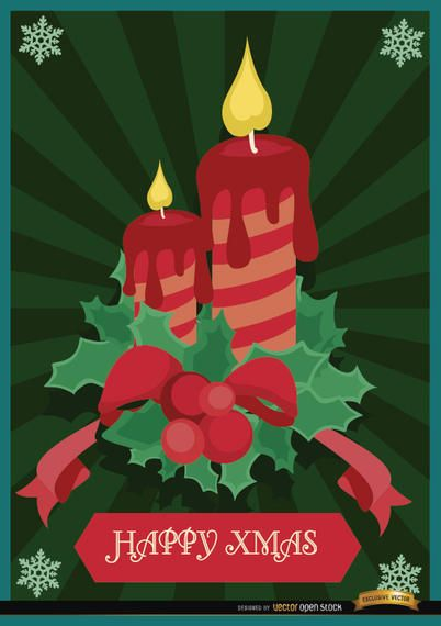 Christmas candles mistletoe background