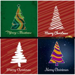 4 abstrakte Weihnachtsbaumhintergründe