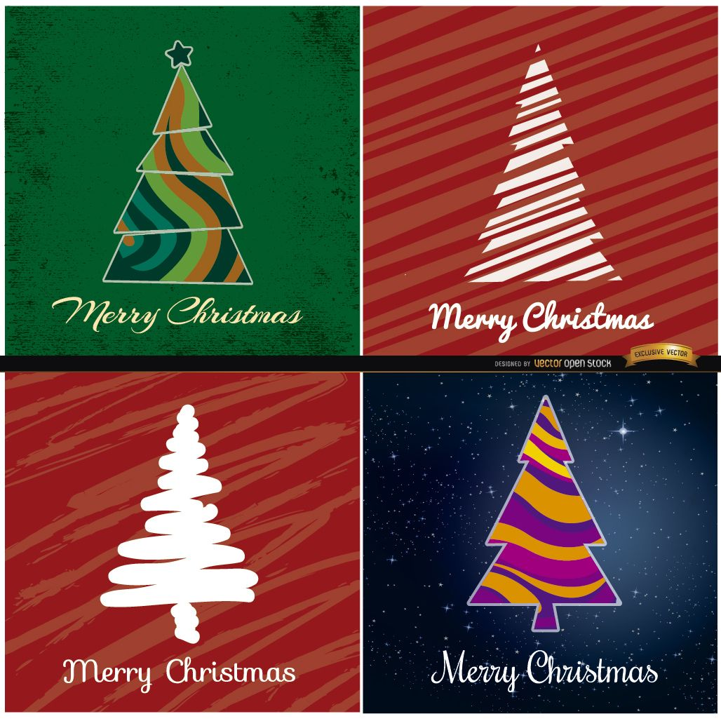 4 Abstract Christmas tree backgrounds