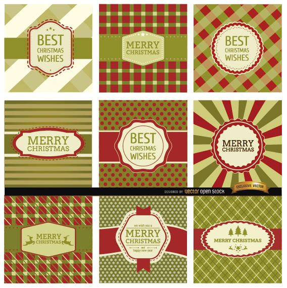 9 Abstract Christmas label backgrounds