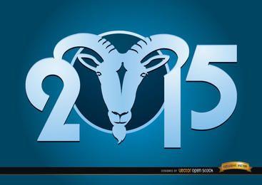 2015 Año de la cabra azul del papel pintado