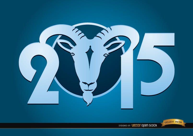 2015 Goat Year blue wallpaper
